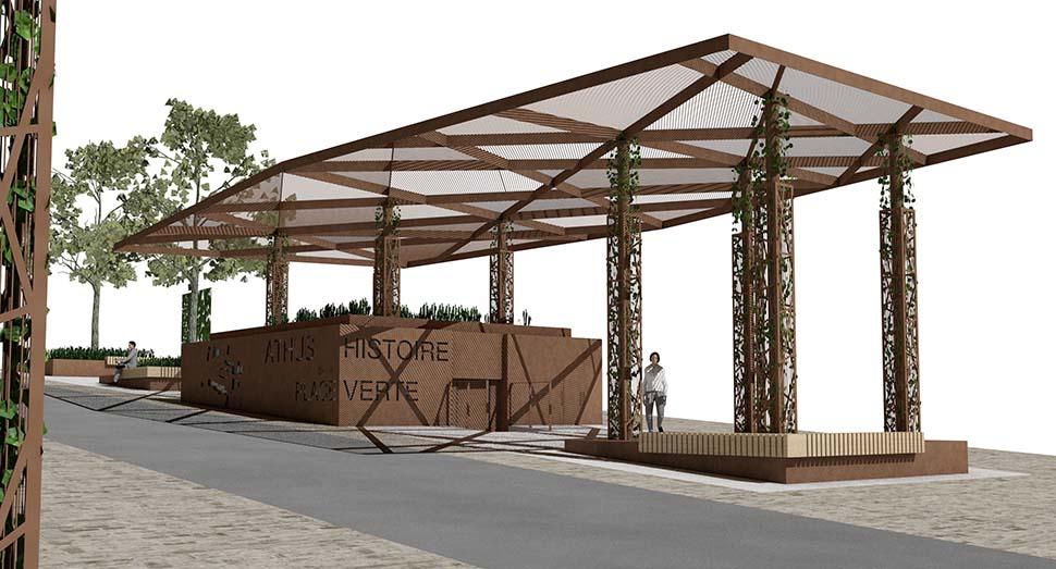 Rénovation urbaine d'Athus, place verte